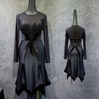 Black Latin Dance Dress Women Costume Long Sleeve Dress Rumba/ChaCha/Tango Dress Flamengo Female Black Fringe Latin Dress VDB430