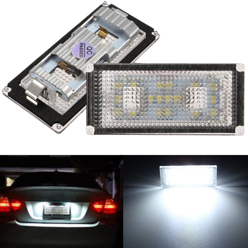 2Pcs Error Free 18 LED Number License Plate Light For BMW E66 E65 7-Series 735i White 2pcs set led license plate light error free for bmw e39 e60 e61 e70 e82 e90 e92 24smd xenon white free shipping