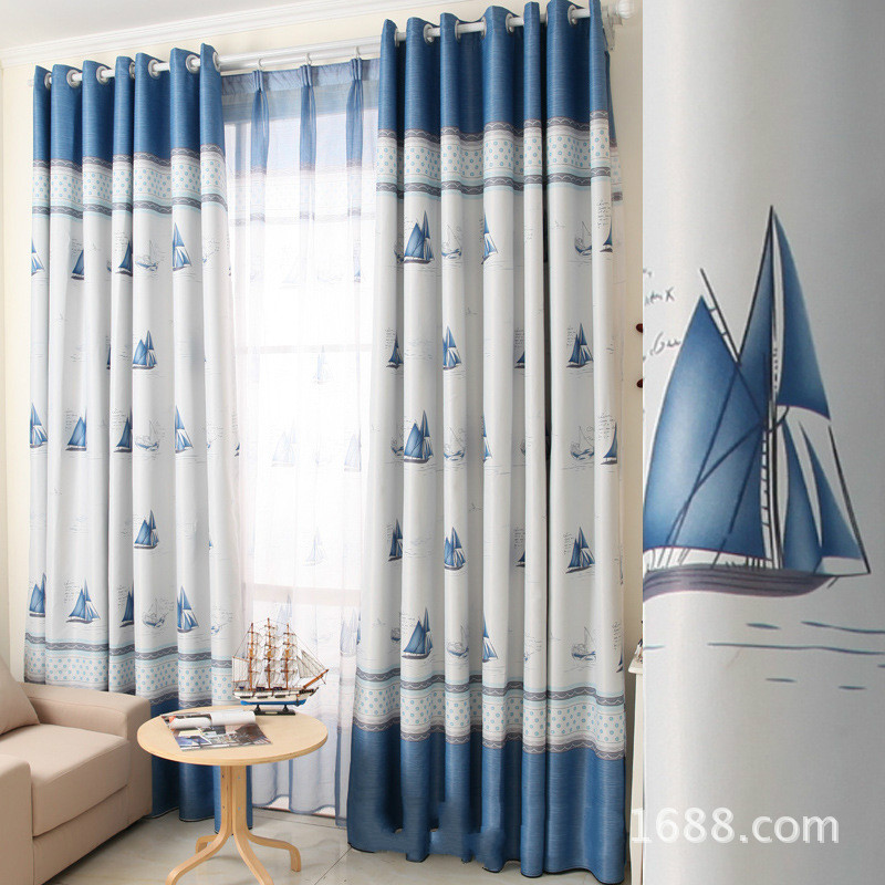 2017 European Style Children Curtain Elegant Blue Ocean Sailboat Pattern Blackout Cloth Curtains for Living Room Bed Room