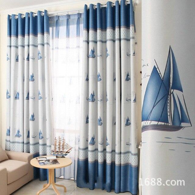 2017 European Style Children Curtain Elegant Blue Ocean Sailboat Pattern Blackout Cloth Curtains For Living Room
