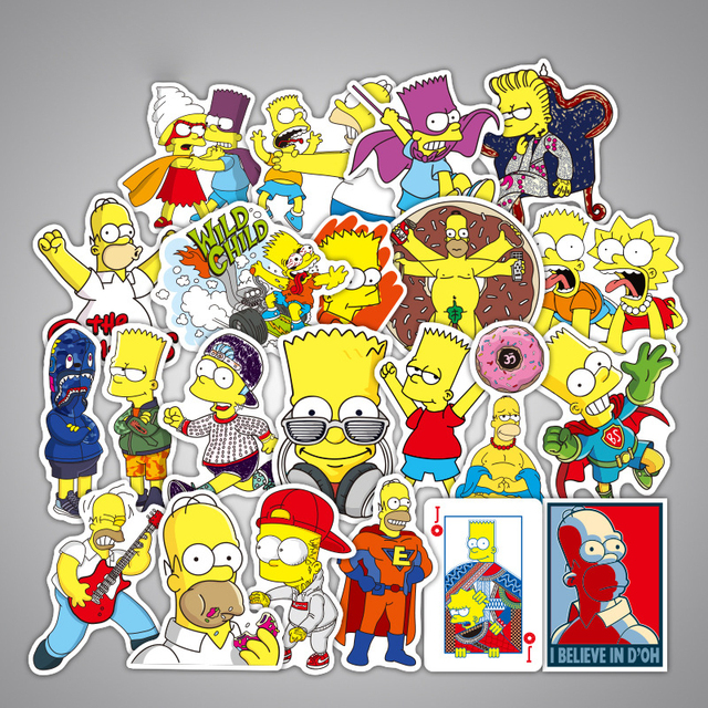 25pcs Cartoon Anime Vinyl Stickers Simpsons Street Tide Graffiti