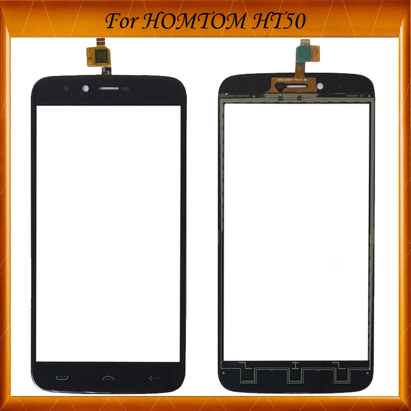 For HOMTOM HT50 Capacitive Touch Screen Digitizer Panel Sensor Front Glass Blcak Color IN Stock