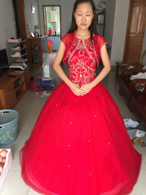 2017 Cheap Red Quinceanera Dresses Ball Gown Beaded With Jacket ...