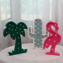 LED Wooden Modeling Night light Cute shape as kids gift room Decoration Coconut Tree Flamingo Cactus Castle IY304123