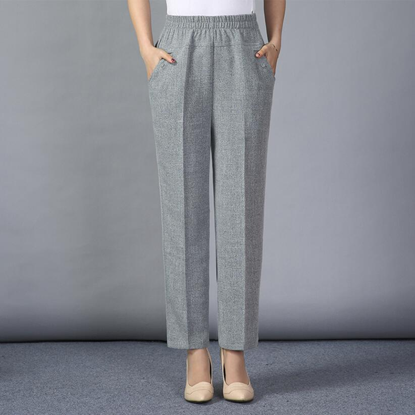 2019 Autumn Summer Women Casual   Pants     Capris   High Waist Straight   Pants   Plus Size Cotton Linen   Pants   Women LY159