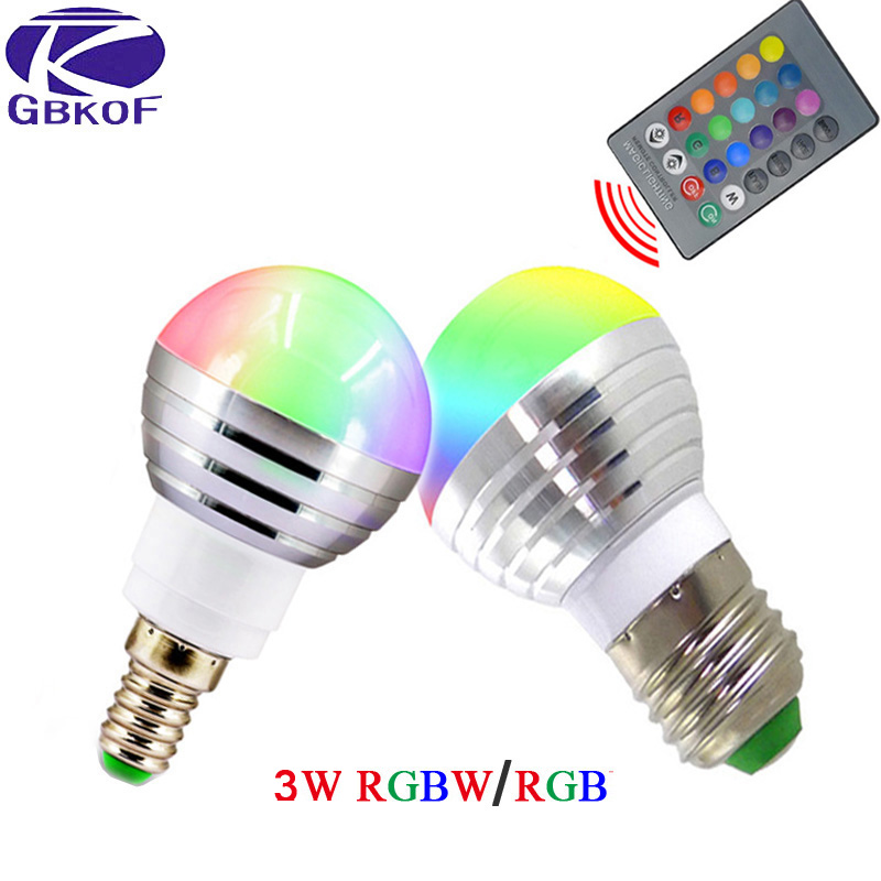 GBKOF AC85V-265V E27 E14 dimmer LED RGB Bulb Candle lamp 3W LED RGBW Spotlight magic Holiday lighting+Remote Controller 16 color