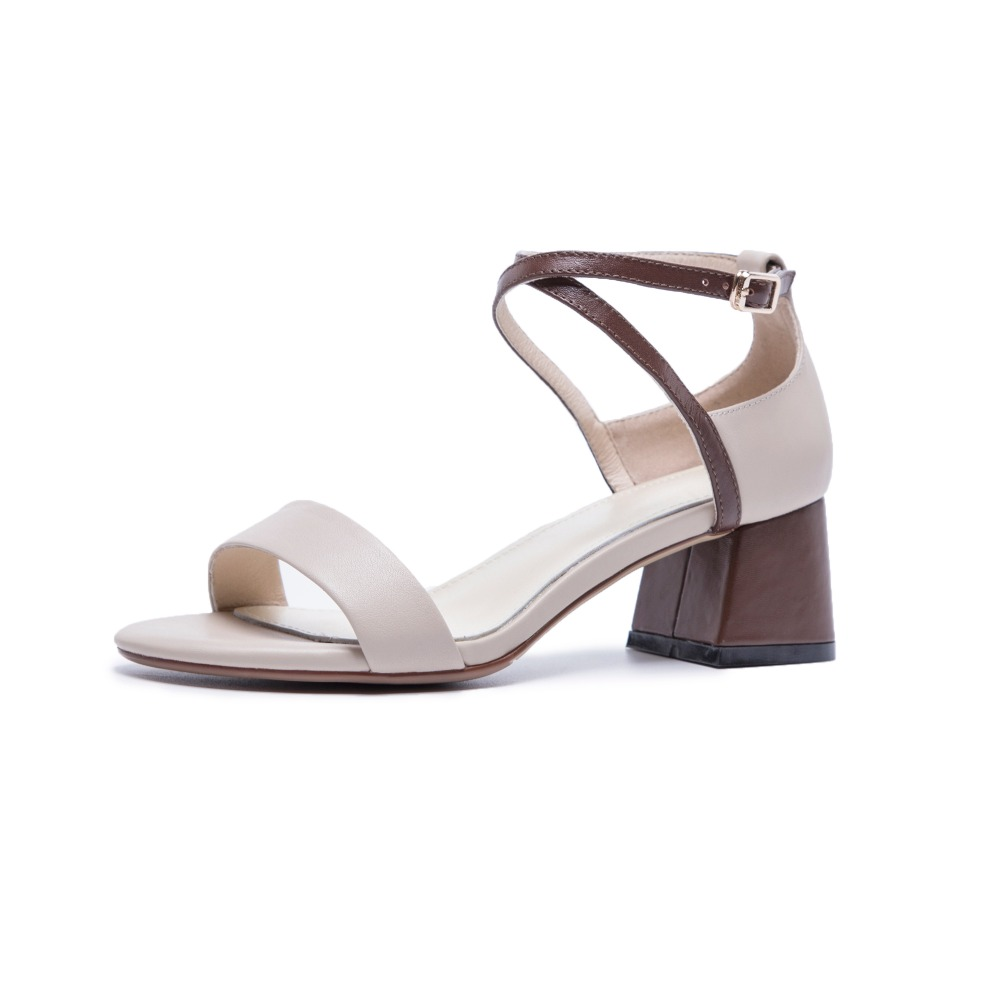 LOVEXSS Fashion sandals female summer new simple word with thick with leather thick with cross straps open toe shoes