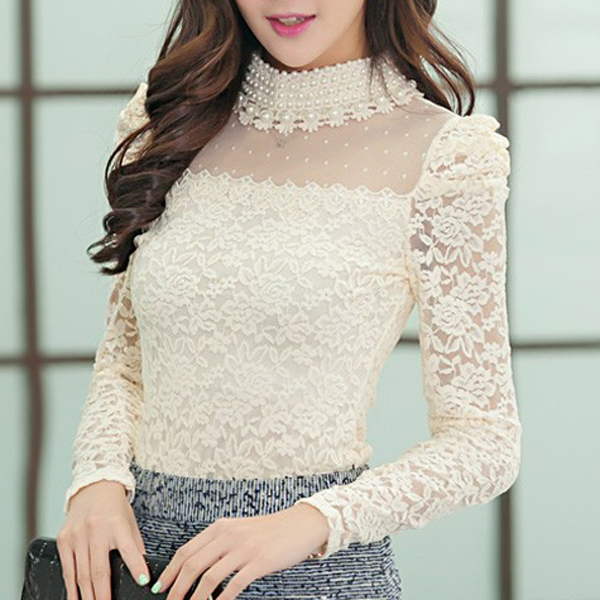 MALL New Fashion Women's Stand Pearl Collar Lace Crochet Long Sleeve Sexy   Blouse     Shirts   Black Beige White 4 Sizes