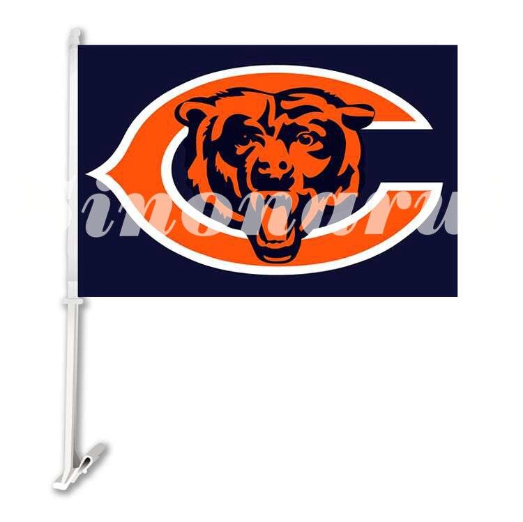 Chicago Bears Sports Team Autofahne Doppelseitige Banner 29*45 CM Mit Hülse Der Stange 12