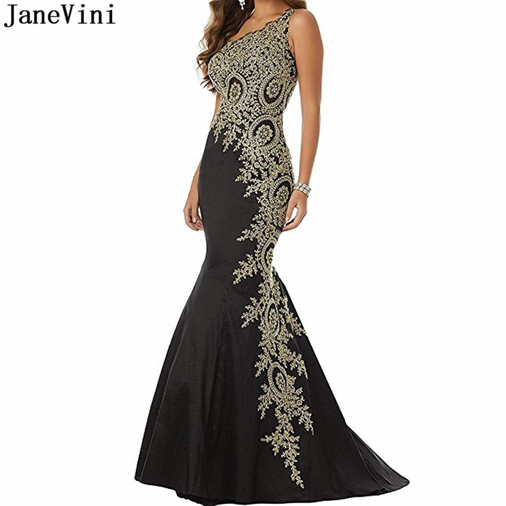 JaneVini Sexy Black Mermaid Long Evening Dresses One Shoulder Gold Appliques Beaded Backless Satin Plus Size