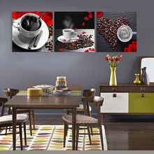 Kitchen restaurant coffee beans murals art decor canvas print pictures flower oil painting bedroom painting 3 Pcs 079