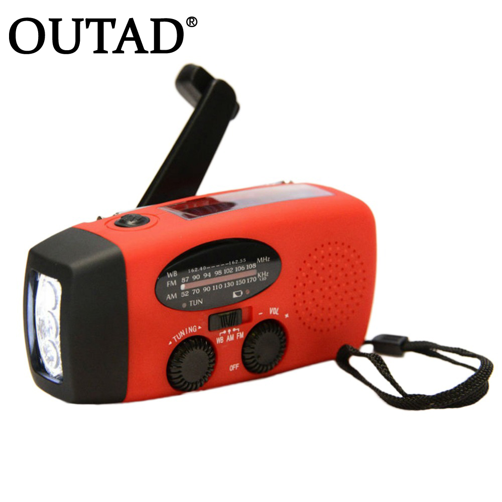 OUTAD Protable Emergency Hand Crank Charger 3LED Flashlight Generator Solar AM/FM/WB Radio Waterproof Emergency Survival Tools new portable solar radio fm hand crank self powered phone charger 3 led flashlight am fm wb radio waterproof emergency survival