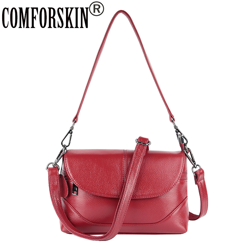 CMFORSKIN Luxurious Cowhide Messenger Bags European and American Women Handbag Hot Brand Large Capacity Women Leather