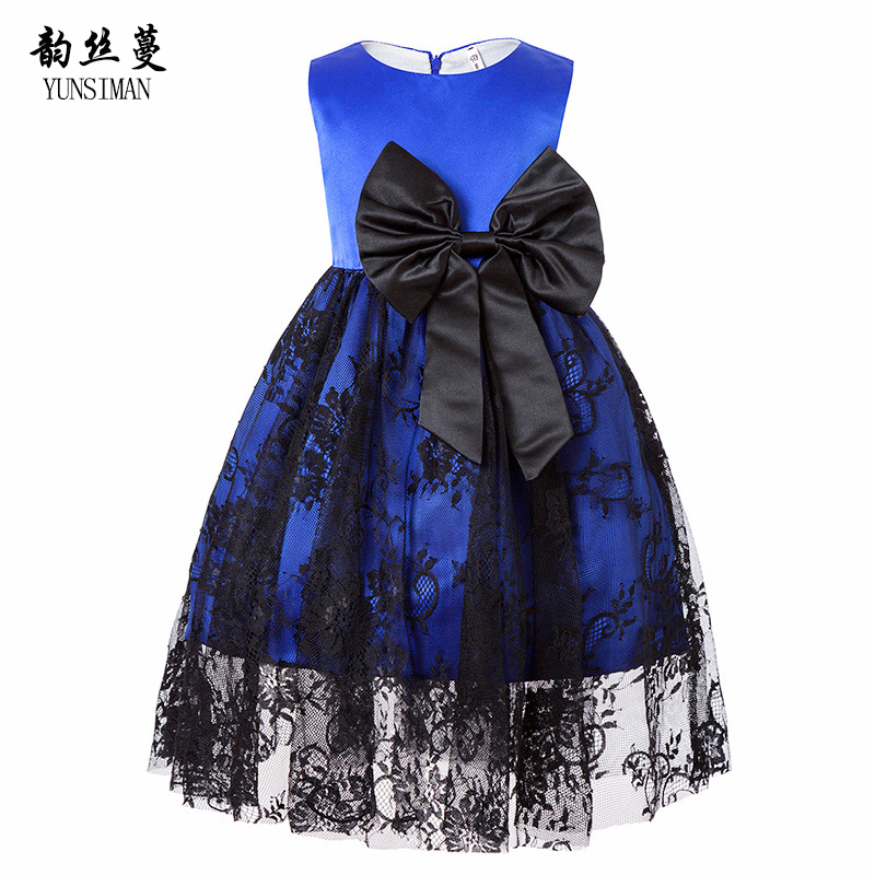 Baby Girls Lace Princess Dress 2 4 6 Years Kids Blue Lace Dresses with Big Bow Kids Girls Summer Clothes Teens Party Dress 7B01 baby kids girls clothes dresses sleeveless cool princess lace hollow out summer dress clothes kids 2 3 4 5 6 7 years new cute
