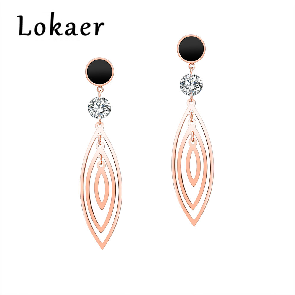 Lokaer Chic AAA Cubic Zirconia Stud Earrigs For Women Titanium Steel Rose Gold Three-layer Olive Tassel Earrings Jewelry OGE458