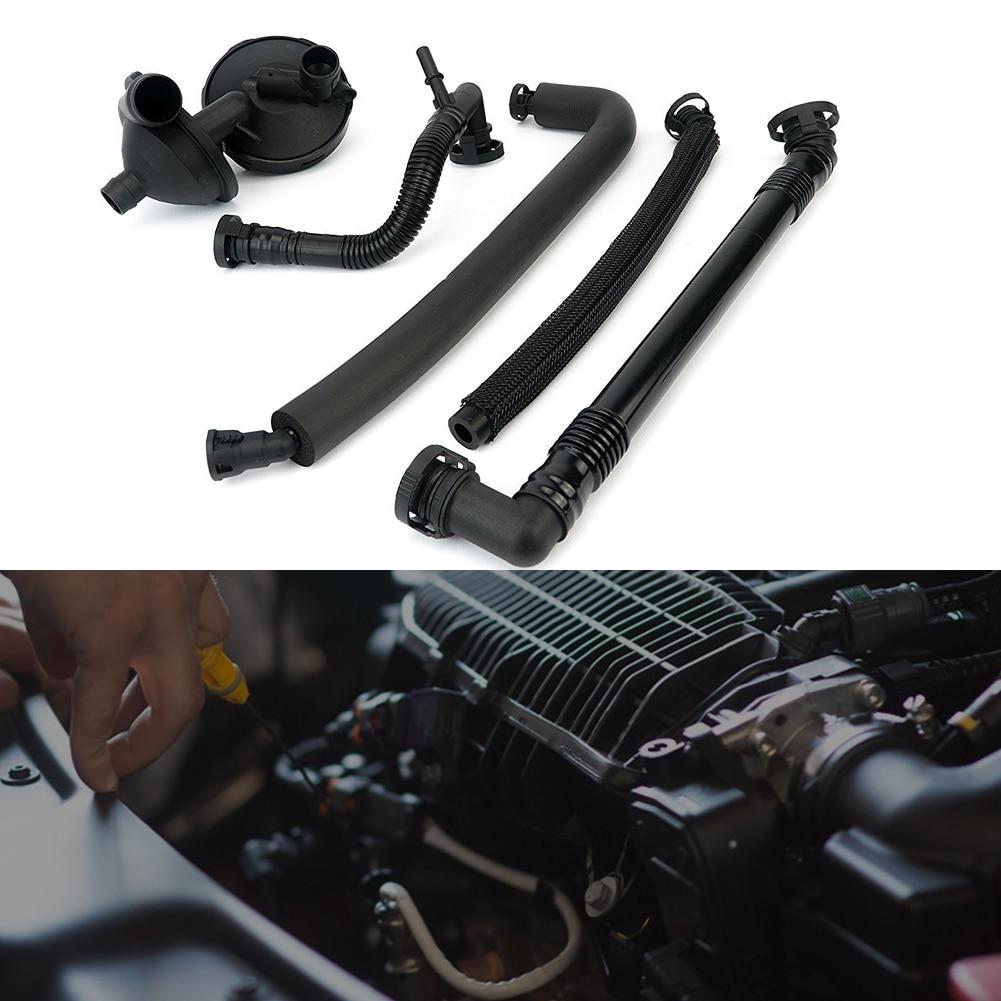 5PCS/SET Crankcase Vent Valve Breather Hose Kit for BMW E46 320D 330i 330Xi  PCV Crank Case Ventilation Oil Trap Separator Hose