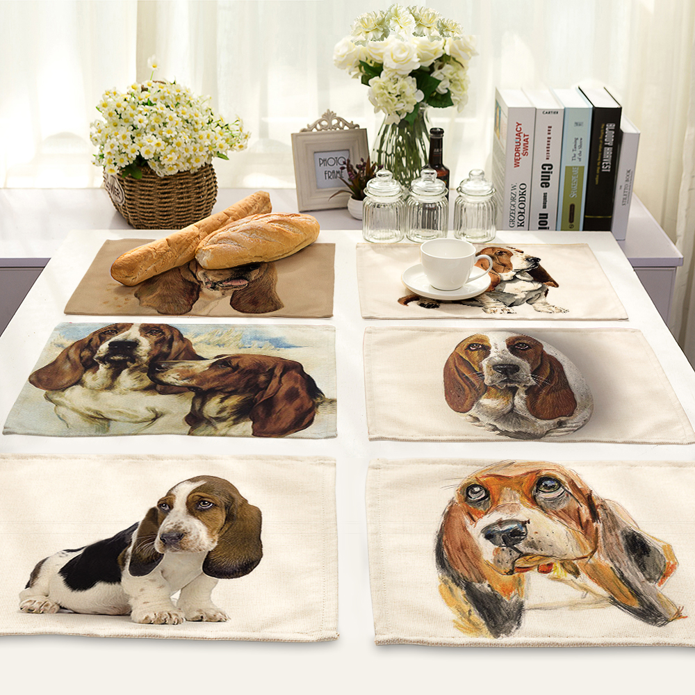 Lovely Pet dog design Printed Table Napkins for Wedding Party America Table Napkin Cloth Western Dinner Mat Home Textile