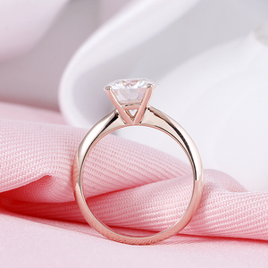 Image 5 - DovEggs Solid 14K 585 Rose Gold 2.5ct carat 8.5mm F Color Lab Created Moissanite Diamond Solitaire Engagement Rings For Women