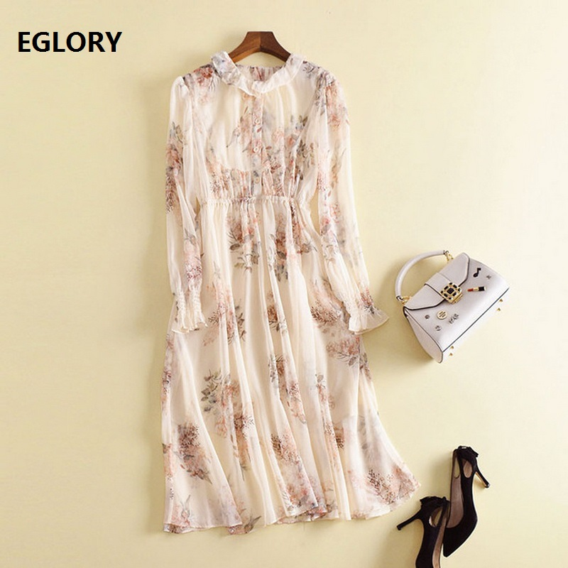 Summer Dress Chiffon Sweet Women Ruffled Collar Long Sleeve Floral Dress Elastic Waist Casual Midi Dress Brand Vestidos Mujer