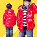 Niño masculino abajo de la capa 2017 niño térmica abajo prendas de vestir exteriores del niño del bebé ocasional del todo-fósforo prendas de vestir exteriores