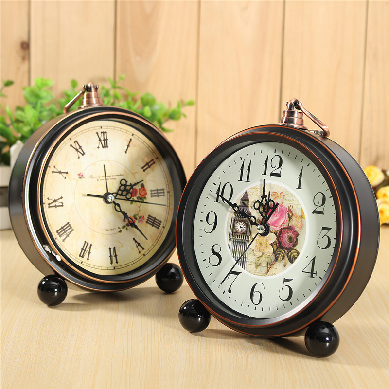 Black Vintage Silent Bedroom Roman Dial Bell Table Bedside Quartz Alarm Clock
