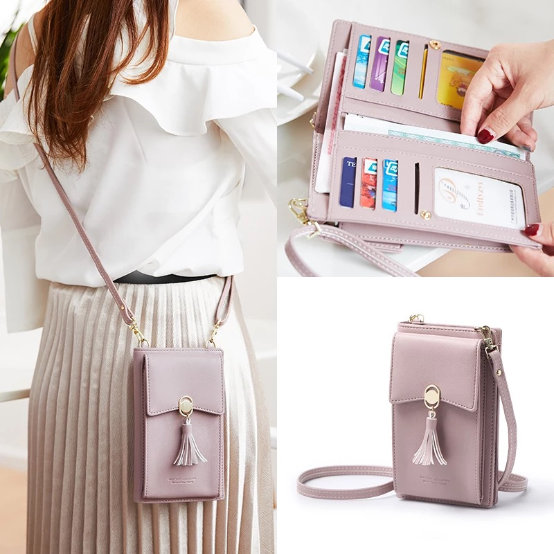 Summer Women Phone Shoulder Bag PU Leather Money Wallet Mini Chain Mobile Long Phone Bags Holders Clutch Phone Messenger Bag