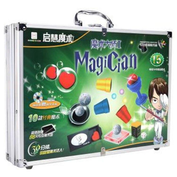 Tour de magie jouets pour enfants cadeau 10 accessoires de type avec valise de magicien fermer rue enfants partie spectacle scène comédie