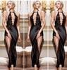Sexy Lingerie Black Lace Silk Backless Split Hollow Halter Maxi Dress Set Women Night Underwear