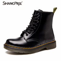 Large Size 35 43 New 2017 Genuine Leather Women Boots Lace Up Martin Boots Women Ankle
