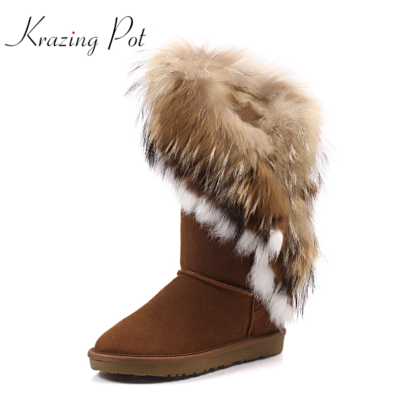 Krazing Pot cow suede fox fur rabbit fur luxury winter boots large size flat with keep warm snow boots women Mid-Calf boots L78 2017 winter new clothes to overcome the coat of women in the long reed rabbit hair fur fur coat fox raccoon fur collar