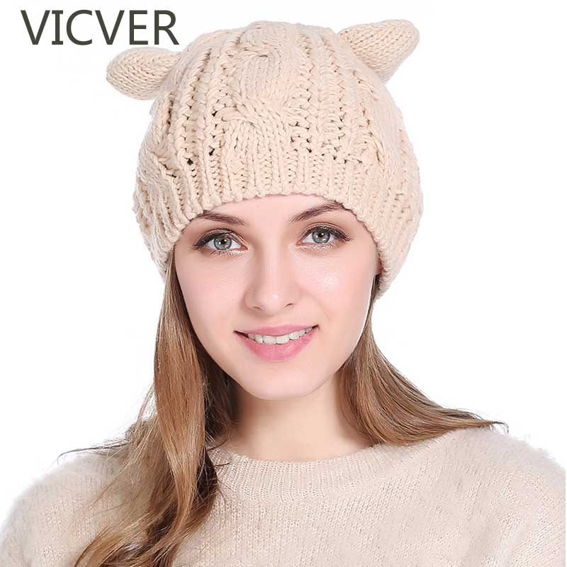 Women's Hat Cat Ear Crochet Braids Knit Caps Solid Winter   Skullies     Beanies   Cap Autumn Female Knitted   Beanie   Cute Girls Warm Hats