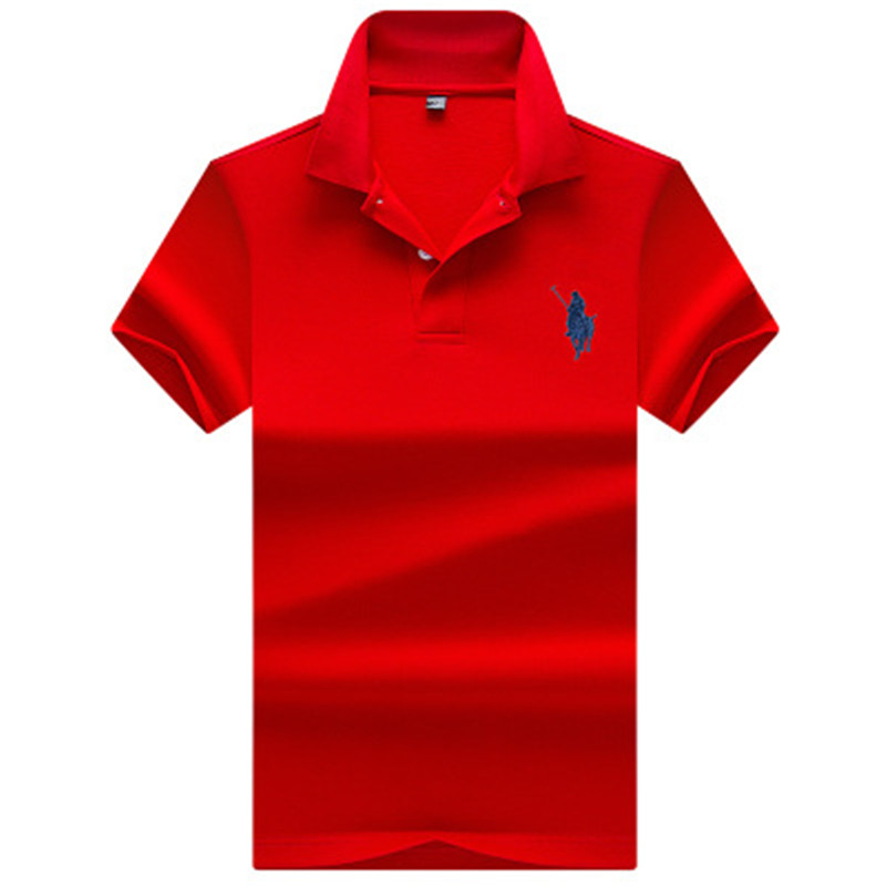 2019 New Men's   Polo   Shirt Business Casual Classic Design Solid Color Cotton Male   Polo   Shirt Anti-Wrinkle Wide-waisted