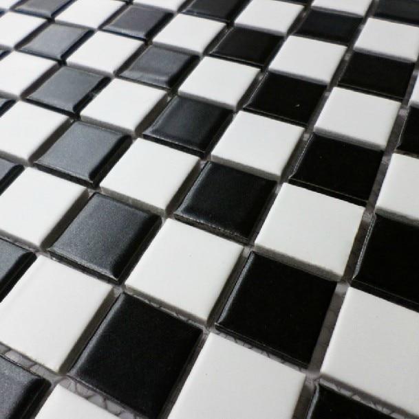 Keramische mozaïek tegel zwart wit antislip geglazuurd matt badkamer ...