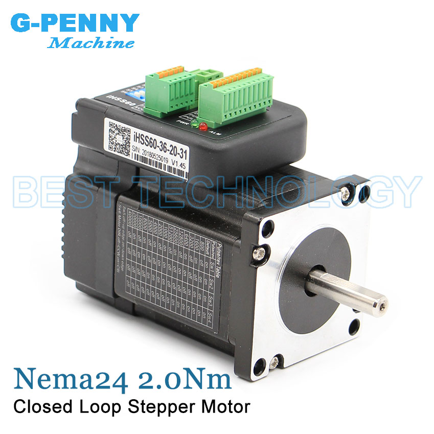 Nema24 Closed Loop Stepper motor 2.0Nm D=8mm 285Oz-in Nema 24 Hybrid Integrated Stepper Servo Motor with drive 60x65mm 5.0A 36v Nema24 Closed Loop Stepper motor 2.0Nm D=8mm 285Oz-in Nema 24 Hybrid Integrated Stepper Servo Motor with drive 60x65mm 5.0A 36v