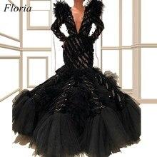 Специальный дизайн черные платья знаменитостей, Русалка с длинным рукавом глубокий v-образный вырез Формальные Вечерние платья с многоуровневым шлейфом