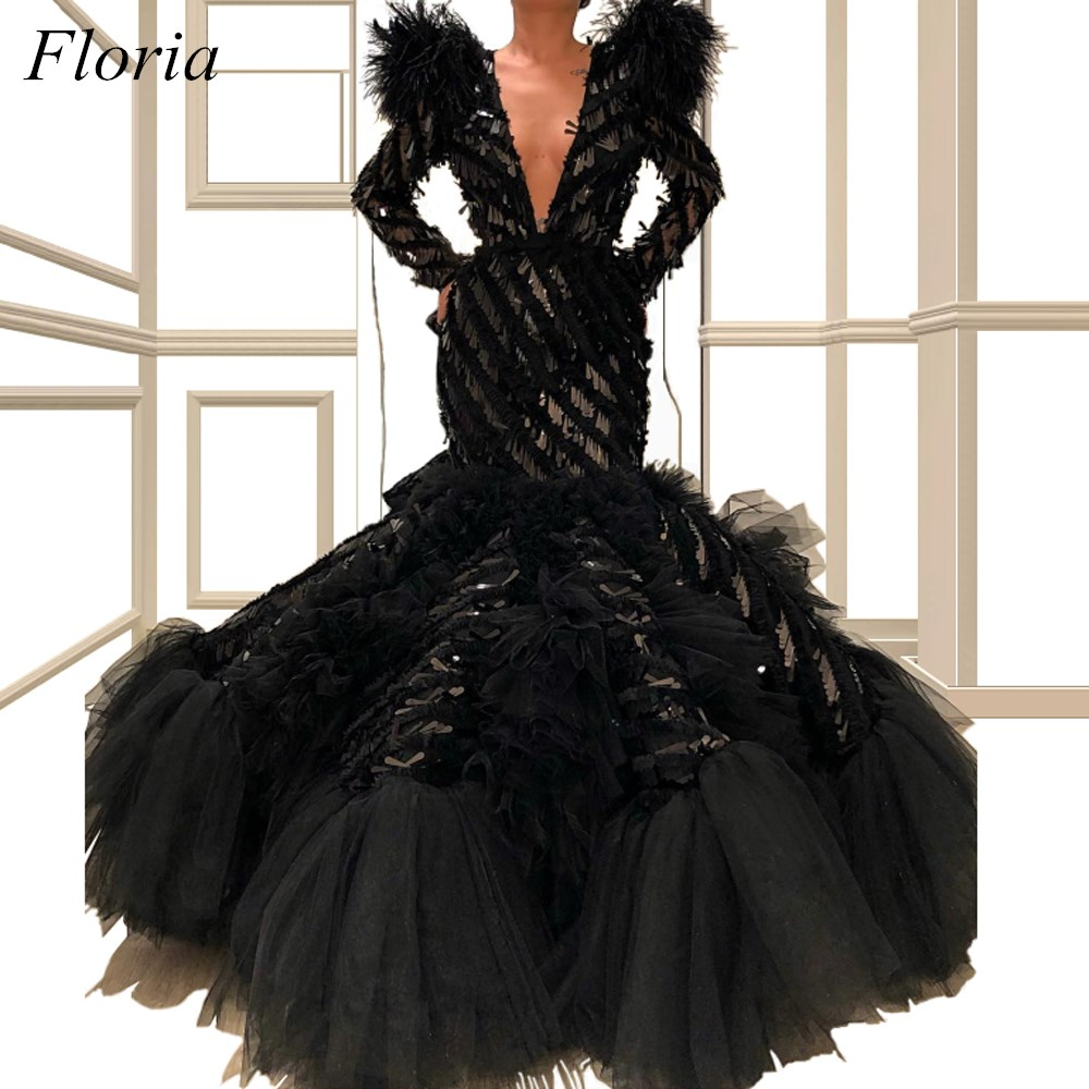 2019 Special Design Black Celebrity Dresses Mermaid Long Sleeves Deep V-Neck Formal Evening Party Gowns With Tiered Train