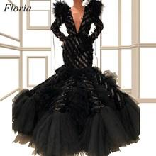 2019 specjalna konstrukcja czarne sukienki Celebrity Mermaid długie rękawy głębokie dekolt formalne suknie wieczorowe z warstwowym pociągiem tanie tanio Floria V-neck Octan spandex Pełna Długość podłogi Celebrity sukienki vintage REGULAR Tulle Trąbka mermaid Pióra Cekinami