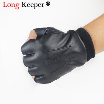 Skóra pu dla mężczyzn rękawice wysokiej jakości antypoślizgowe Luvas pół palca aksamitne rękawiczki bez palców gants moto jesień zima Guantes tanie i dobre opinie Long Keeper Dla dorosłych COTTON Skóra syntetyczna Stałe Nadgarstek Moda B-G362 Semi Fingerless Gloves Tactical fitness work out hiking motorcycle biking