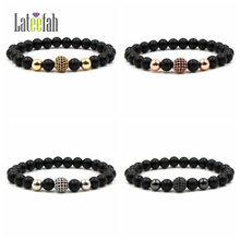 Lateefah 8mm High Quality Melted Rock Bead Bracelet Black CZ Ball Men Charm Copper  Gifts for