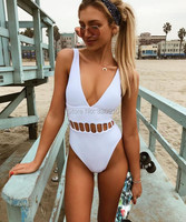 MOOSKINI 2017 Women S White Swimwear One Piece Low Cut Swimsuit Push Up Hollow Out Biquini