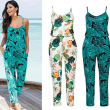 Green Leaf Printed Summer Beach Rompers Backless Women Jumpsuits Tight Long Pants  Sexy V-neck Bandage Vintage Garment Playsuits 80449de144a2