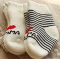 Новое прибытие хлопок дети мальчики девочки носки papamama петля кучи утолщение новорожденных носки 100% шить-на младенца хлопка носки