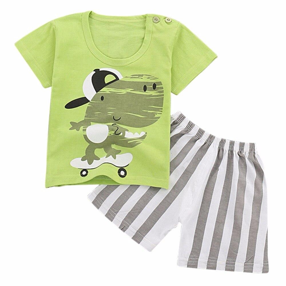 2018 Girls Boys Kids Cute Cartoon Short Sleeve Tops Tees + Shorts Pants Summer Clothing Cotton 2 Pcs Sets