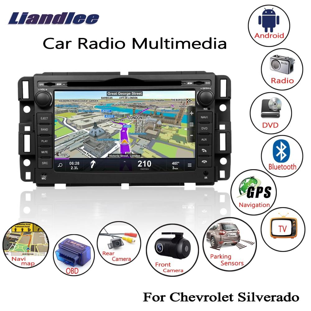 Liandlee pour Chevrolet Silverado 2007 ~ 2014 2 din Android Radio lecteur CD DVD GPS Navi Navigation cartes caméra OBD TV écran