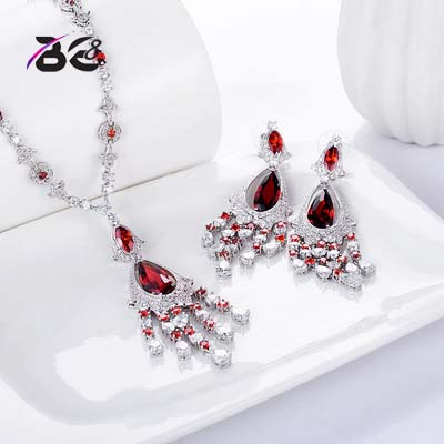 BE8 Luxury Red Water Drop Pendant Jewelry Set For Women 5 Colors Bohemia Necklace Earring Sets