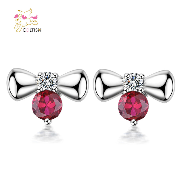 Coltish 1 Pair Fashion Cute Bow White Gold Plated Stud Earrings Jewelry