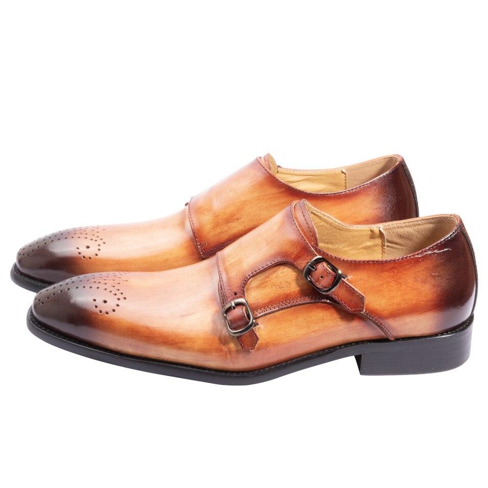9eac79b90 Melhor sapatos masculino social bico fino couro Dupla fivela Feitas à mão  Marrom Amarelo Sapatos de couro vaca Barato Online Preço.