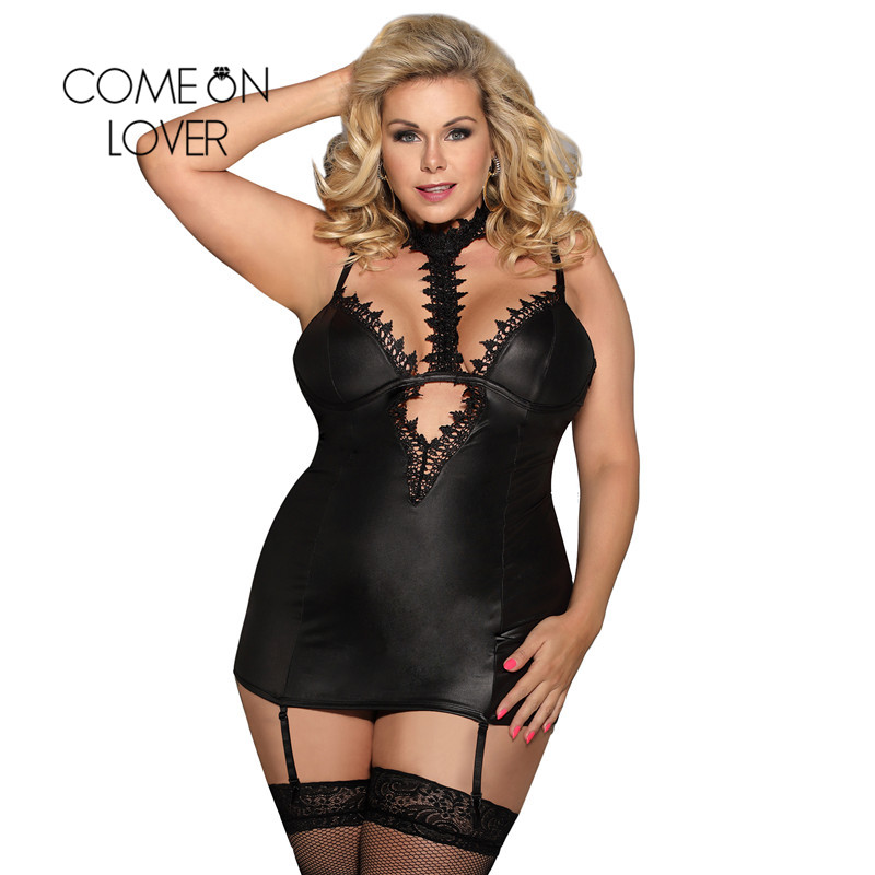 Comeonlover Dessous Sexy Hot Erotic Lace Choker Neck Chemise Porno Babydoll Sexy Plus Size Babydoll Lingerie Sexy RI80662