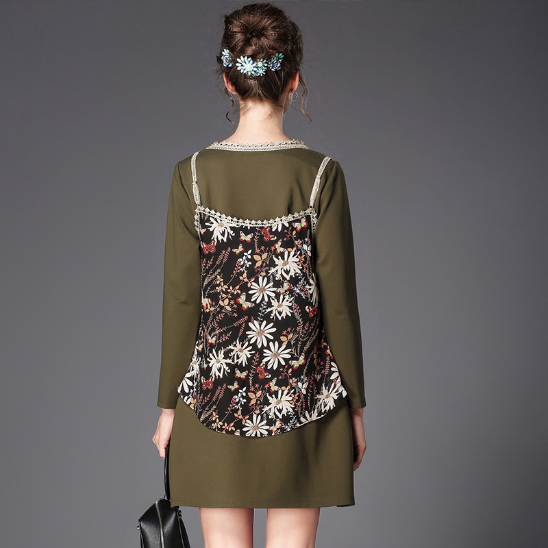 Longues Manches Robe L Aofuli Taille Vert Plus Vintage xxxl Automne Broderie 2017 La Robes Marque Fleur Éthique 5xl Nouveau Femmes 5BPcgqw7P