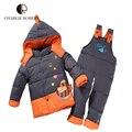 CR New Children Clothing Set Cute Fish Pattern Winter Kid Jacket Set For Girls And Boys Fashion  Hooded Winter Jacket KS420